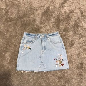Garage Embroidered Mini Denim Skirt